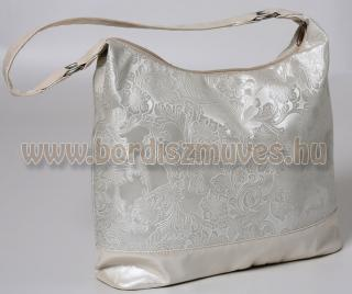 Fehér nyomott textilbőr női válltáska, Vehrdesign táska