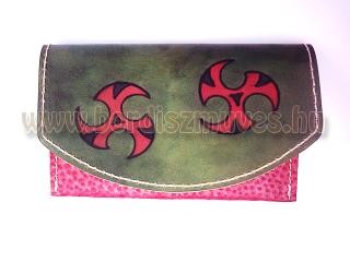 Kézzel készített, festett  valódi bőr pénztárca két rekesszel, valódi bőrtárca