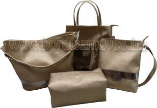 Bőr - textilbőr arany táska és neszeszer szett