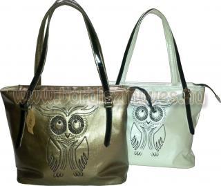 Bagoly mintás női textilbőr táska, bőr fogóval, őszi divattáska, női táska, női