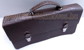Bőr, ügyvédi sokrekeszes táska, aktatáska, külső rész, 6 rekeszes
