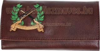Egyedi, hímzett barna marhabőr vadász brifkó, pénztárca készítés