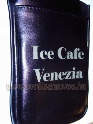 Egyedi fekete marhabőr brifkótartó, pincér tárca tartó ICE CAFE VENEZIA feliratt