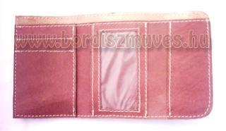 Sok rekeszes, duplafedeles ( 2, kettő, v. két fedeles) valódi bőrtárca, pénztárc