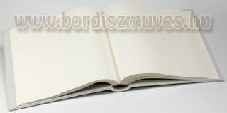 Esküvőre egyedi marhabőr borítású fotóalbum, gyöngyház-fehér színű, belső rész,