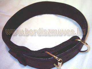 Sima, 5 cm-es bőr nyakörv, harci kutyára, marhabőr nyakörv, 1 nyelves pergős csa