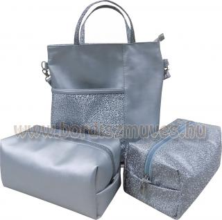 Ezüst textilbőr táska és neszeszer szett