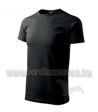 Fekete kereknyakú póló, akár XXXXXL 5 XL méretben is, EXTRA méretben, igény eset