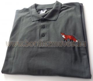 Galléros, piqe, piké póló róka hímzéssel