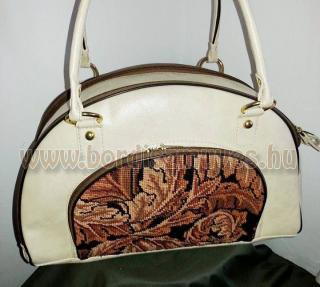 Fehér marhabőr - gobelin nagy méretű  kézi táska
