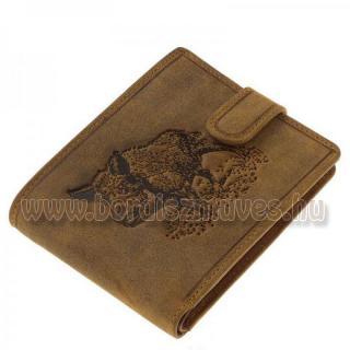 Bőr pénztárca VADDISZNÓ motívummal, aprós rekesszel, kártyatartókkal zsebekkel
