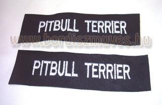 Sertésbőrre hímzett felirat, kutyaruhára, kiegészítőre Hímzésre, egyedi hímzés