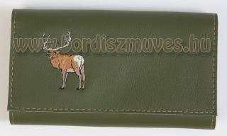 Egyedi, marha bőr hímzett brifkó, pénztárca vadászoknak, erdészeknek
