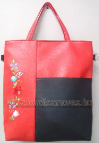 Hímzett piros kalocsai textilbőr női válltáska