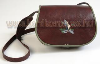 Egyedi hímzett bőr vadásztáska kacsával, női vadásztáska készítés Jagdtasche
