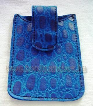 Egyedi, kék, nyomott kígyóbőrből készített, iphone, okostelefon tartó bőrtok