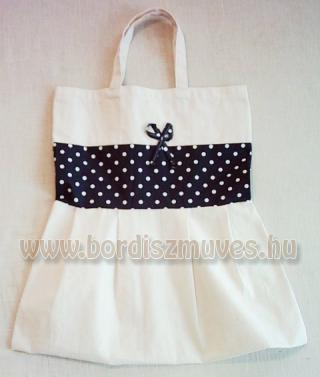 Natúr molinóból és nyomott kék vászonból készült táska textiltáska, vászontáska