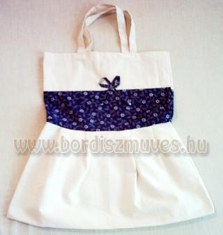 Natúr molinóból és nyomott vászonból készült táska textiltáska, kék virágos