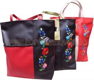 Hímzett kalocsai textilbőr női táska, válltáska, kézi táska