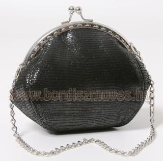 Egyedi, különleges, keretes fekete gyíkbőr utánzatú nyomott bőr női pénztárca, l