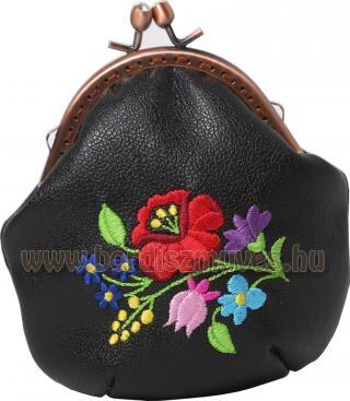 Fekete marhabőr keretes kalocsai hímzett pénztárca