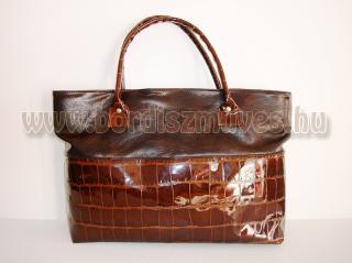Vehrdesing, női táska, KROKO kézitáska, divattáska, női táska, barna - világos