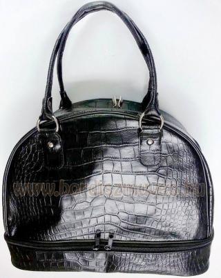 Nyomott krokodilbőr, női alkalmi kézi táska, rövid fogó, cipzáros zárás, alsó ci