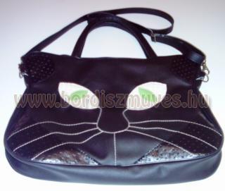 Textilbőr macskatáska, női válltáska