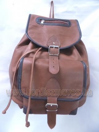 Nagyméretű barna marhabőr hátizsák bőr fűzővel, hátitáska