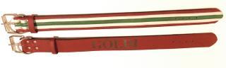 Nemzeti színű marhabőr nyakörv, extra erős nyúlásgátló betéttel