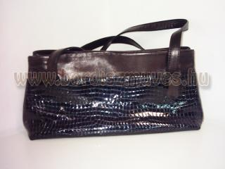 Vehrdesing, női táska, kézitáska, divattáska, női táska, barna - fényes fekete