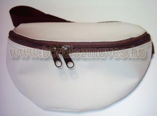 Fehér gyöngyvászon oldaltáska, övtáska, cipzáros zsebekkel