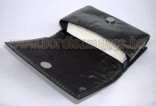 Elegáns, fekete bőr papírzsebkendő tartó tok, nyitva