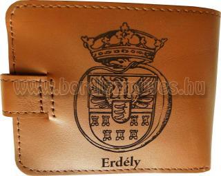 Férfi marha bőr pénztárca Erdély címerrel, összecsukható kivitellel