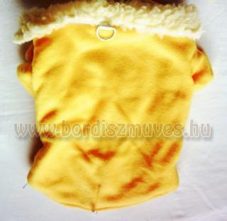Sárga színű termóból, polárból, készült ujjas kutyaöltözet, kutyaruha