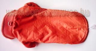Narancs színű vízlepergető anyagból készült ujjas kutyaöltözet, kutyaruha