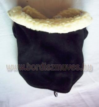 Egyszínű termoból, polárból, készült kutyaöltözet, kutyakabát fekete gallérral é