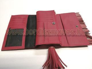 Rojtos piros bőr pénztárca  Arany színű kellékek Kártyatartó Fényképtartó Rojtos