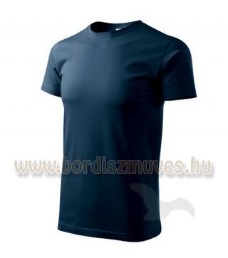 Tengerkék kereknyakú póló, akár EXTRA, XXXXXL 5 XL méretben is, igény esetén pos