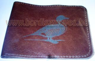 Egyedi, vadász, vadkacsás marhabőr pénztárca, külső rész