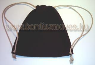 Fekete festett vászon hátizsák, háti táska, vászonzsák, tornazsák vászonból