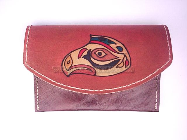 Egyedi, kézzel festett marhabőr pénztárca két rekesszel, valódi bőrtárca
