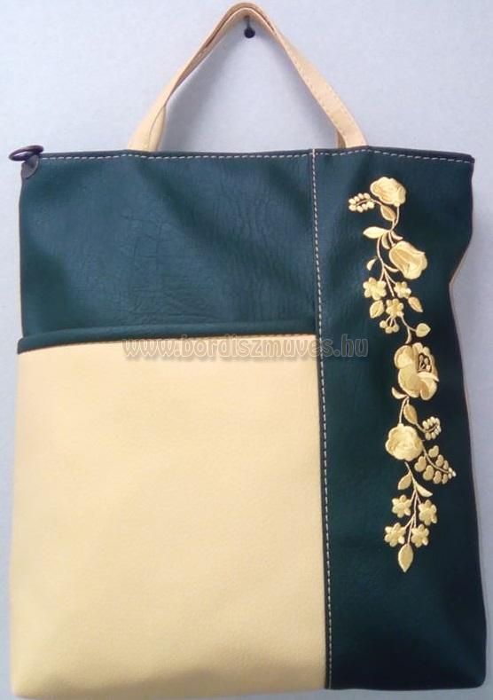 arannyal hímzett kalocsai mintás női textilbőr táska