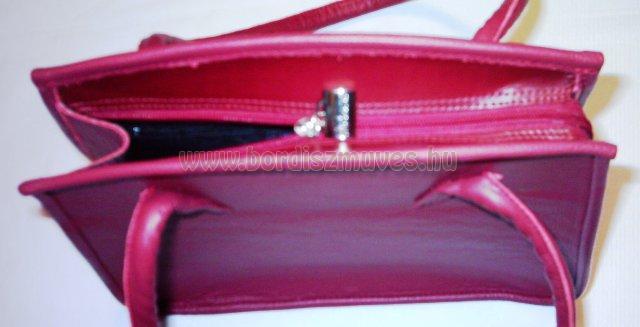 Női táskán fogócsere, női, bordó marhabőr divattáska javítása