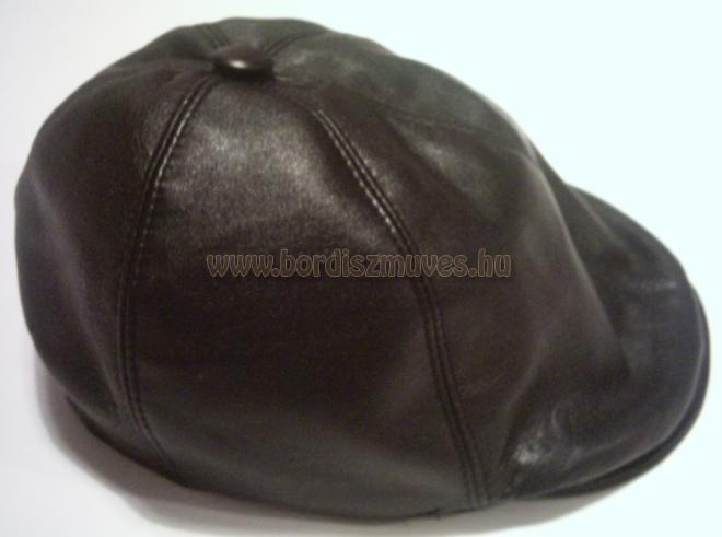 Fekete nappabőr sapka, valódi bőrből siltes, sildes, sapka, golf sapka egyedi