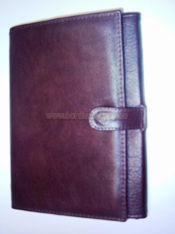 Egyedi, marhabőr, táblagép, tablet tartó barna bőr mappa belső zsebekkel, vágott