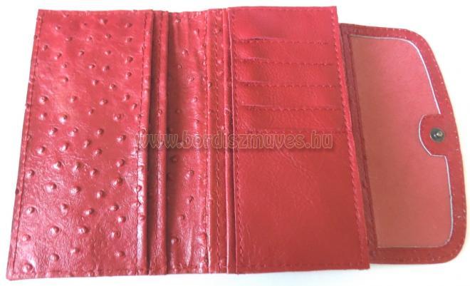 Egyedileg, kézzel készített, duplafedeles, piros nyomott struccbőr jellegű marha