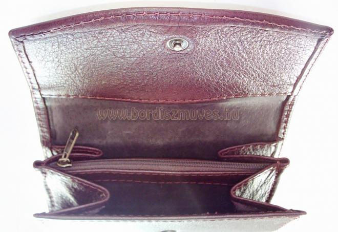 Egyedi, kalocsai hímzett bordó marhabőr pénztárca, női, csajos