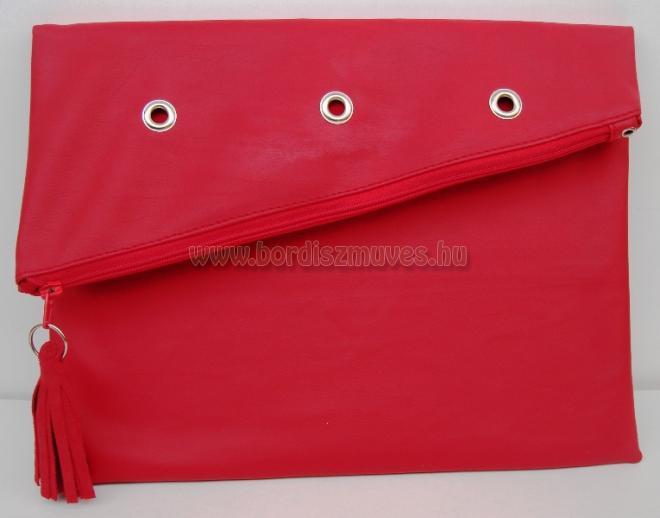 Textilbőr női borítéktáska, cipzáros, Piros textilbőr női borítéktáska