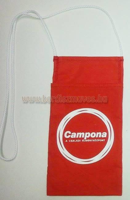Nyakba akasztható nyomott vászon borospohár tartó Campona  családi élményközpont